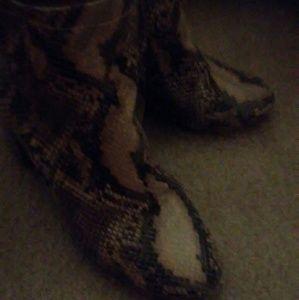 Faux snake skin booties